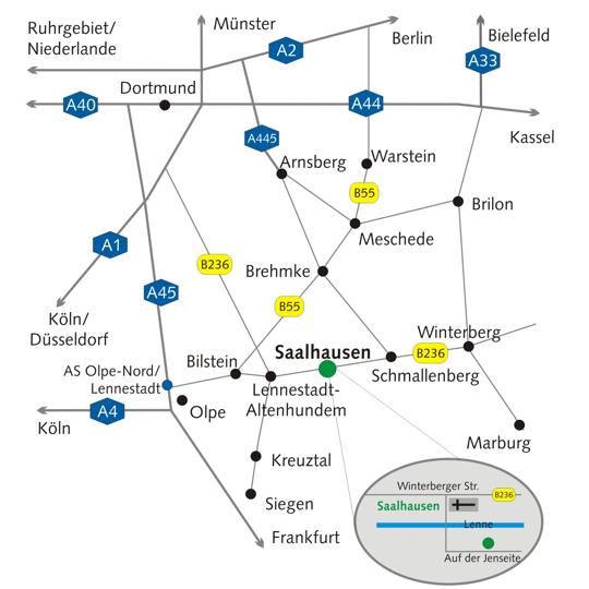 Anfahrtskizze Saalhausen